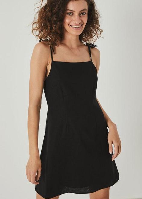 ROLLAS - Tie Bridget Dress - Black Linen
