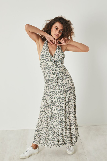 ROLLAS - Halter Daisies Dress - Olive