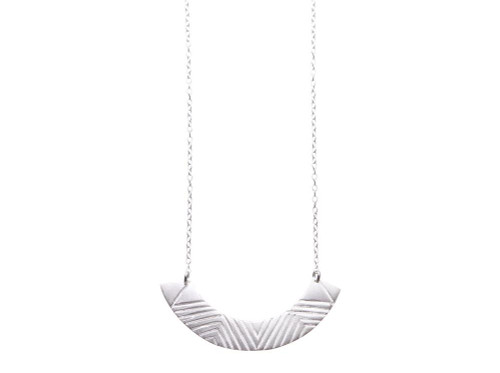 SHABANA JACOBSON - Aztec Pattern Necklace - Matte Silver