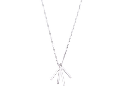 SHABANA JACOBSON - Geometric Lucky Bone Necklace - Matte Silver