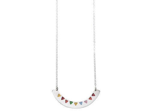 SHABANA JACOBSON -  Triangle Bunting Necklace - Matte Silver and Enamel