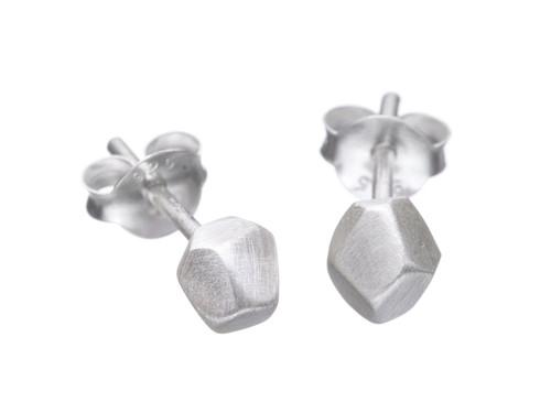 SHABANA JACOBSON - Mini Geometric Faceted Stud Earrings - Matte Silver