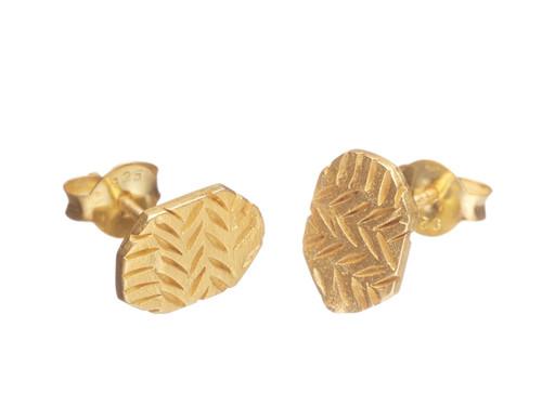 SHABANA JACOBSON - Aztec Stud Earrings - Matte Gold