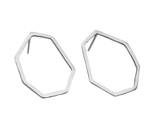 SHABANA JACOBSON - Geometric Stud Earrings - Matte Silver