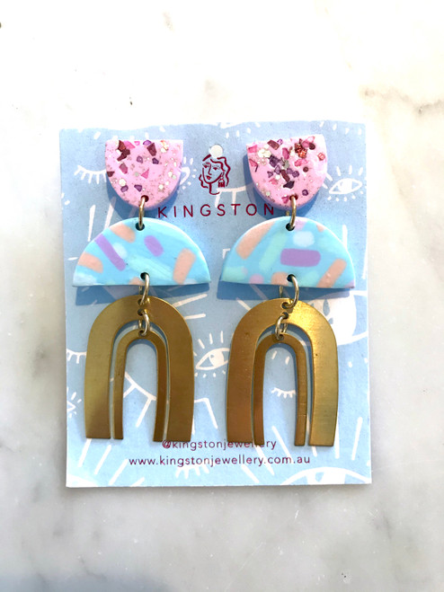 KINGSTON JEWELLERY - Brass Rainbow, Holographic Sparkle with Pink and Blue