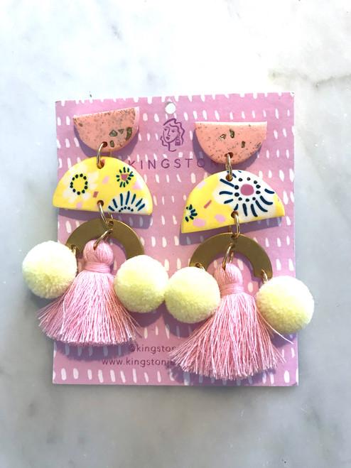 KINGSTON - Yellow Flower Pink Tassel and Lemon Pom Pom
