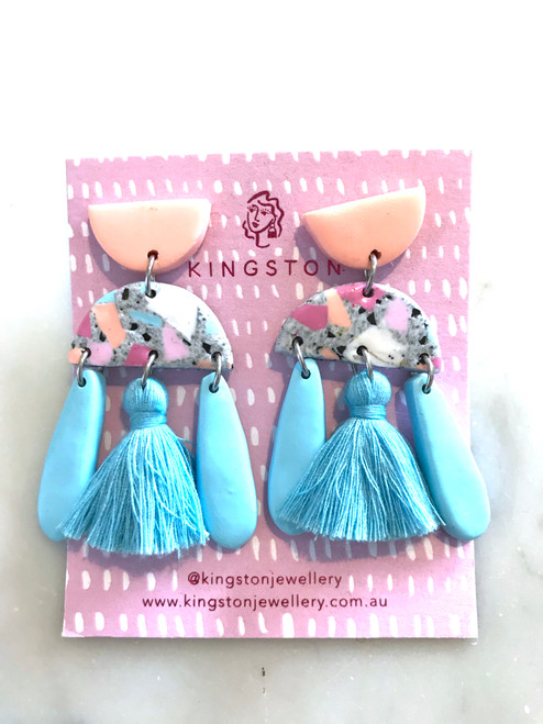 KINGSTON JEWELLERY - Terrazzo Grey, Pink, Blue, Peach and Soft Blue Tassel