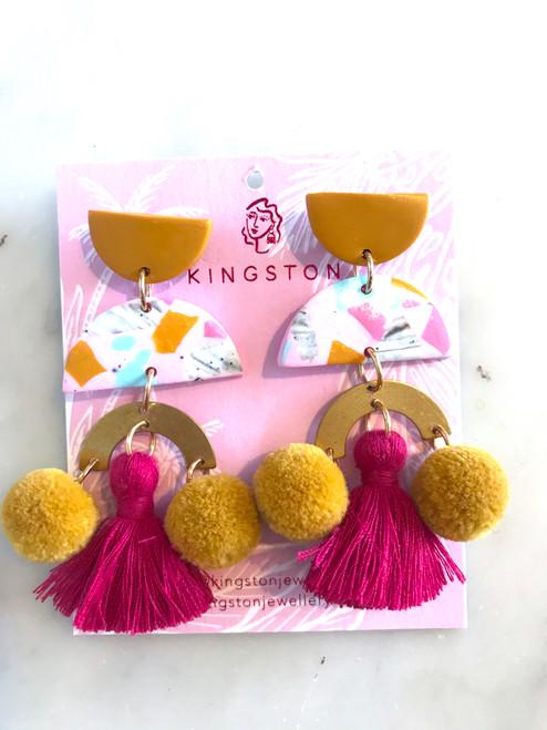 KINGSTON - Mustard, Pink Grey Terrazzo, Magenta Tassel, Mustard Pom Pom