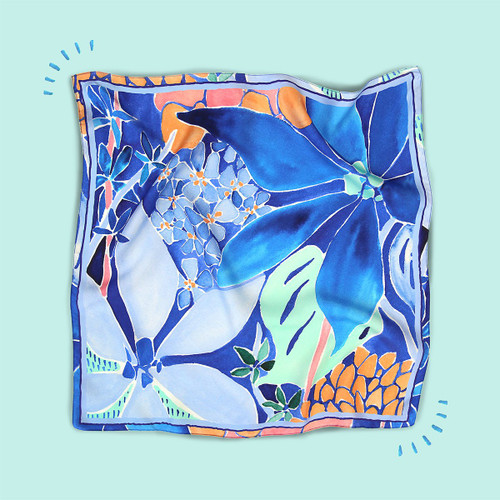 KINGSTON - Silk Scarf with Abstract Flowers