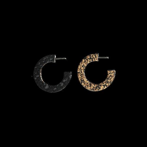 CHAMP - Double Dutch Hoop Earrings - Black Fine Sand Speckle