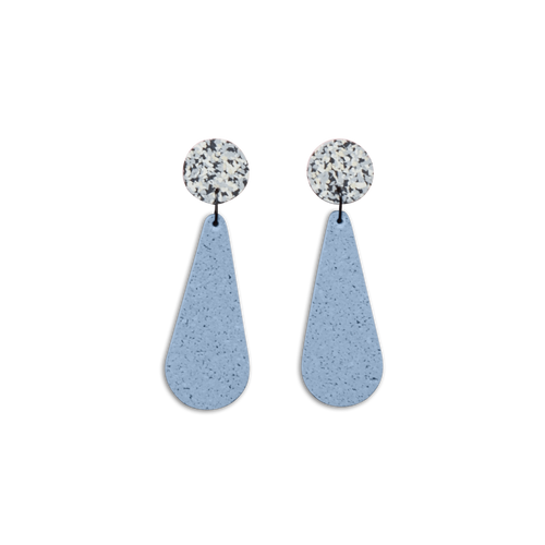 CHAMP - Exclamation Earrings - Grey Speckle and Blue