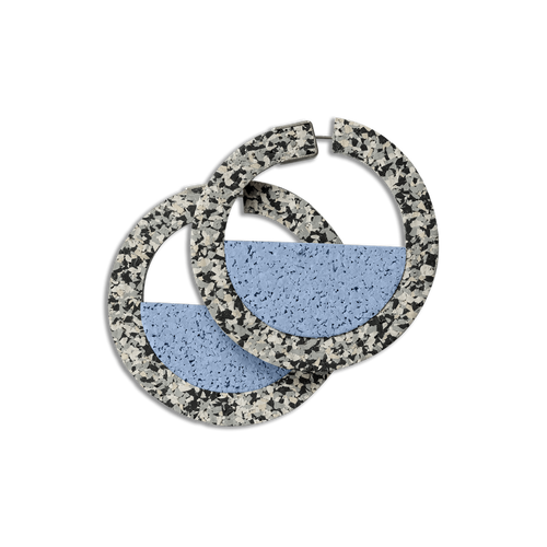 CHAMP - Goal Keeper Hoop Earrings - Grey Speckle and Blue