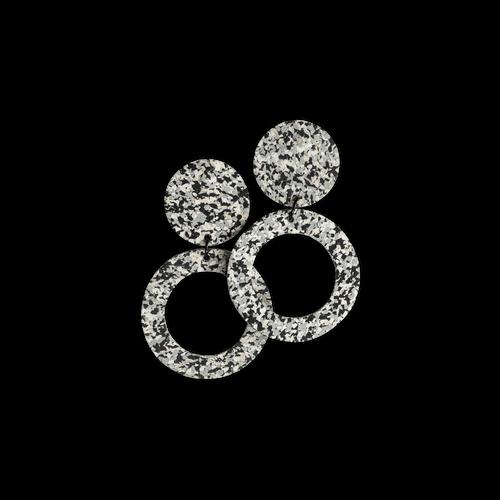 CHAMP - Penny Hoop Earrings - Large Grey Speckle