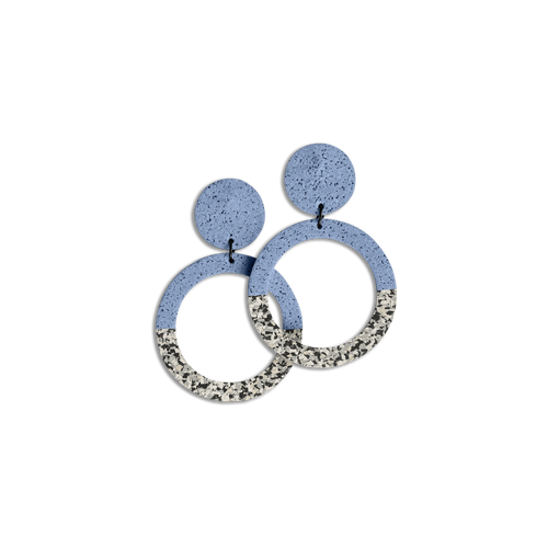 CHAMP - Penny Hoop Earrings - Large Grey Speckle and Blue