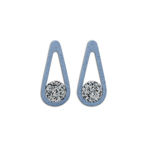 CHAMP - (CLIP ON) Swingers Earrings - Grey Speckle and Blue