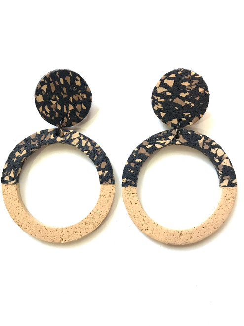 CHAMP - Penny Hoop Earrings - Large Sand Speckle and Sand