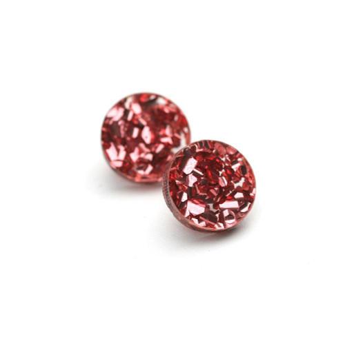 Martha Jean - Mini Circle Stud - Glitter Pink