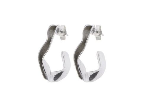 SHABANA JACOBSON - Small Ripple Hoops Silver