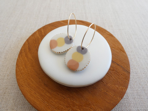 ANDO - Pebble Stack Earrings - Plum, Mustard & Coral Pink