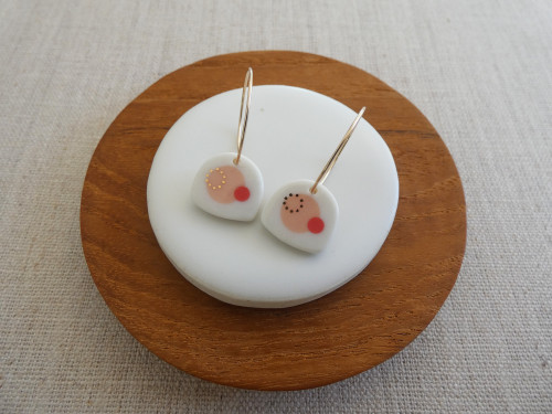 ANDO  - Satellite earrings - Orange Sorbet & Coral Red