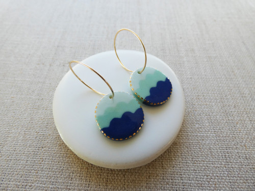 ANDO - Wave Drop Earrings - Pale Blue, Paris Green & Indigo