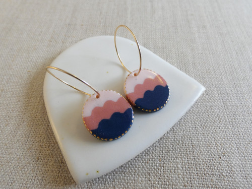 ANDO - Wave Drop Earrings - Pale Pink, Watermelon & Navy