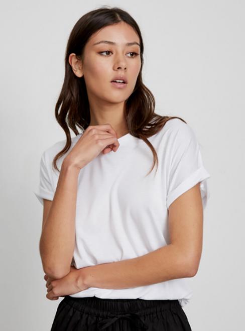 LITTLE LIES - Roll sleeve tee - White