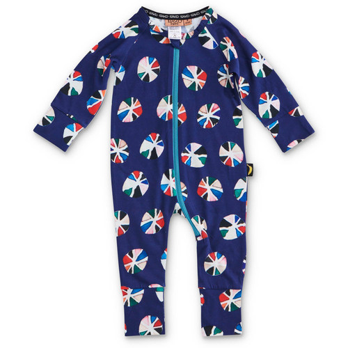 KIP & CO - Pin Wheel Navy Organic Long Sleeve Romper