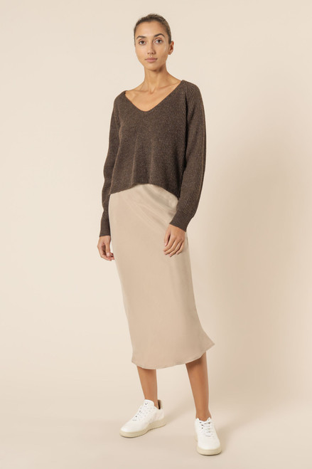 (LATE APRIL DELIVERY) NUDE LUCY - Freya V-Neck Top in Mocha