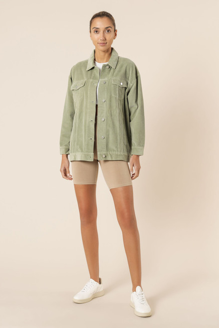 (LATE APRIL DELIVERY) NUDE LUCY - Binx Longline Cord Jacket in Washed Sage