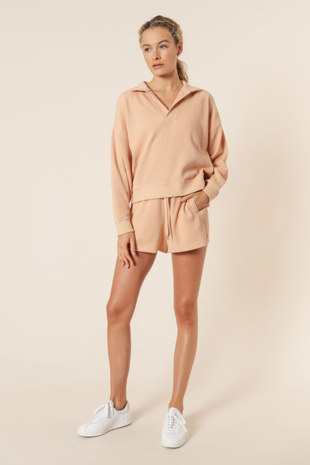 NUDE LUCY - Uma Waffle Rugby Top in Biscuit
