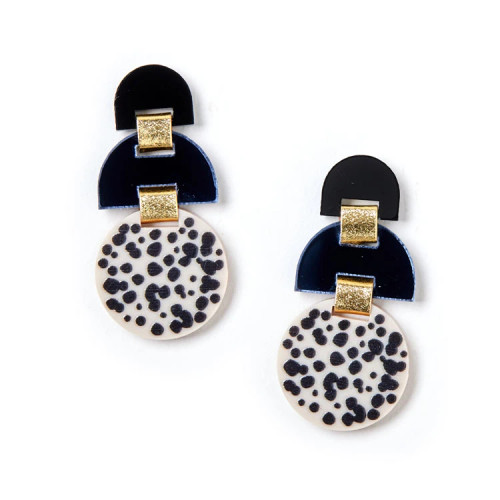 MARTHA JEAN - Half Moon Earrings - Black / Ivory