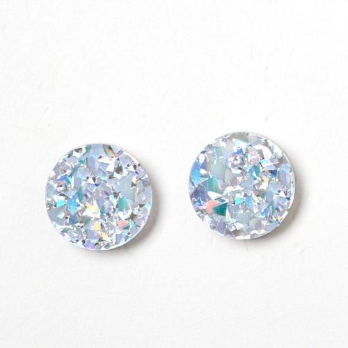 MARTHA JEAN - Circle Stud Earrings - Silver / Iridescent