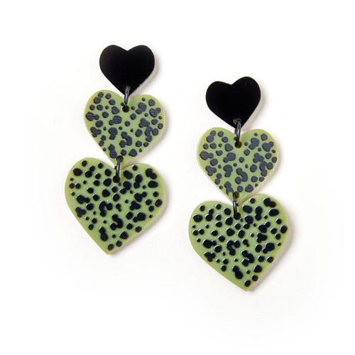 MARTHA JEAN -Candy Heart Earrings - Black / Olive