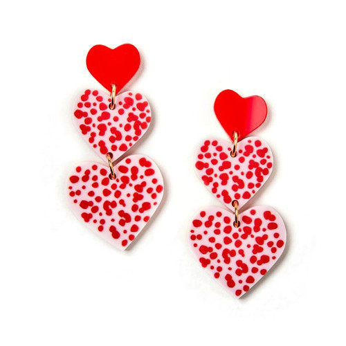 MARTHA JEAN -Candy Heart Earrings - Red / Pink - CLIP ON