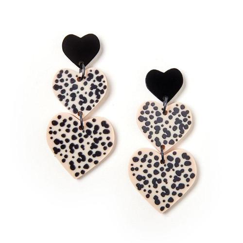 MARTHA JEAN - Candy Heart Earrings - Black / Ivory - CLIP ON
