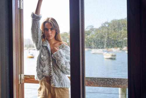 LITTLE LIES - Super Soft Hand Knitted Cardigan in Sky