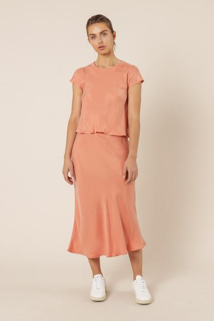 NUDE LUCY - Reece Cupro Midi Skirt - Terracotta