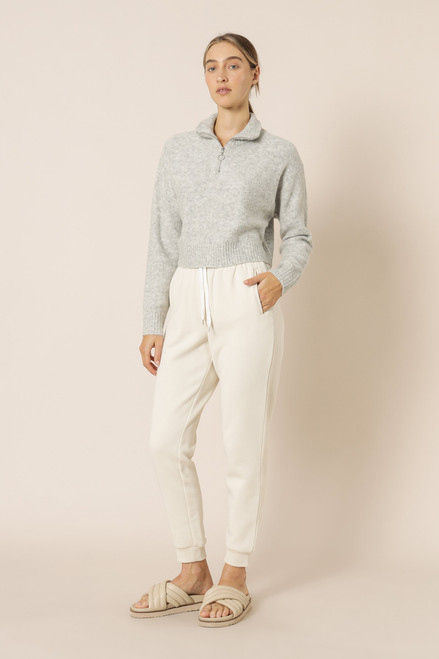 NUDE LUCY - Aiden Zip Up Knit Jumper - Snow Marle