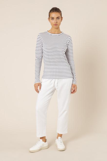 NUDE LUCY - Ava Long Sleeve Tee - Navy Stripe