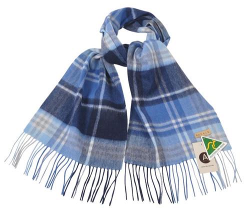 AUSKIN - 100% Wool Scarf - Light Blue Checked