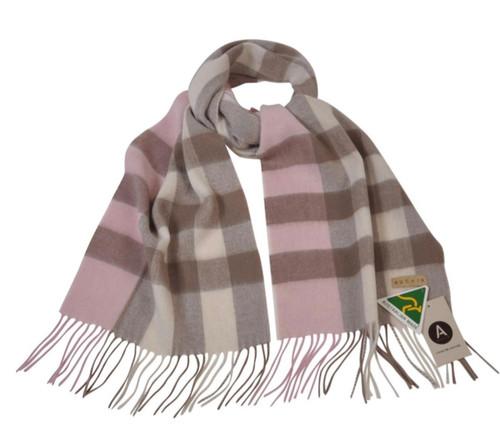 AUSKIN - 100% Wool Scarf - Tan Pink Cream