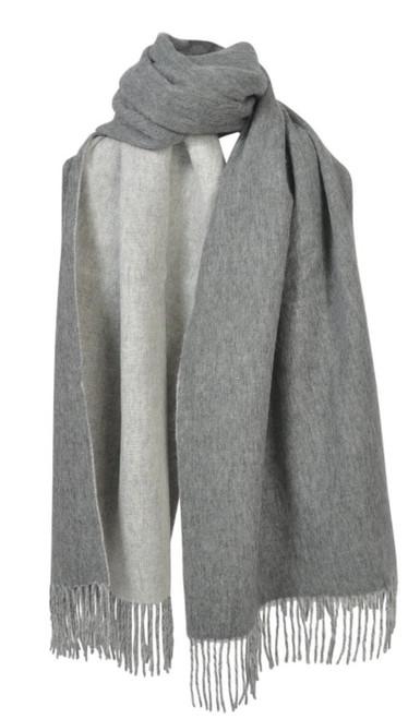 AUSKIN - 100% Wool Shawl - Grey & Light Grey