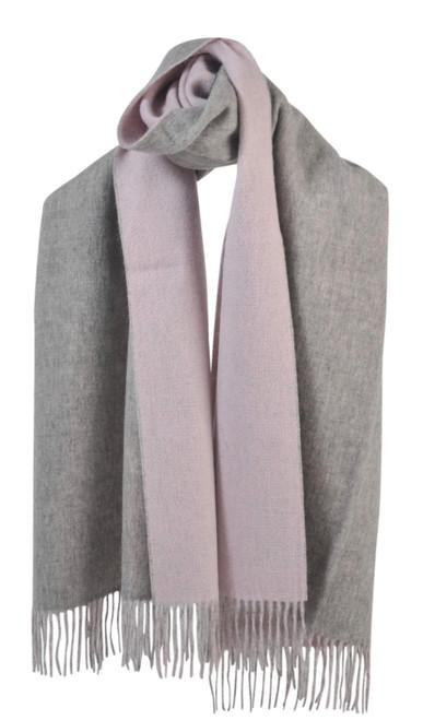 AUSKIN - 100% Wool Shawl - Pink & Grey