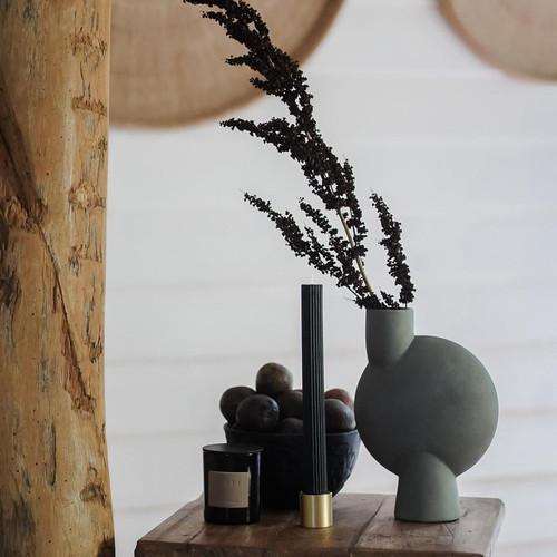 BLACK BLAZE - Column Pillar Candle - 2 Pack - Black