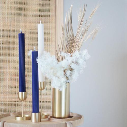 BLACK BLAZE - Column Pillar Candle - 2 Pack - Blue