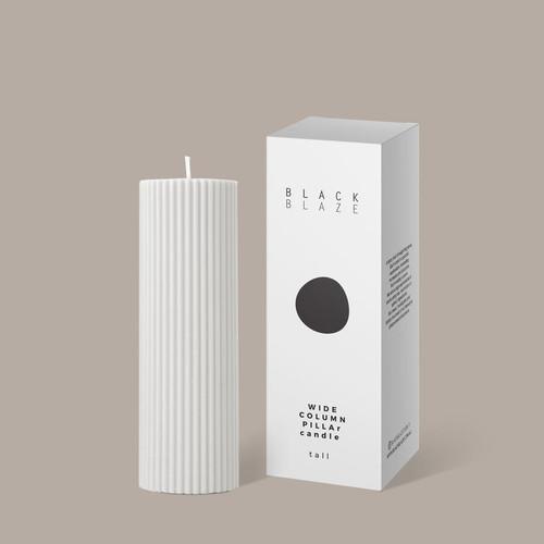 BLACK BLAZE - Wide Column Pillar Candle - Creamy White