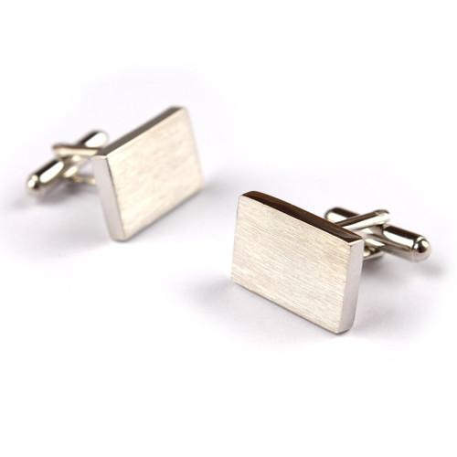OTAA - Classic Rectangle Brushed Silver  Cufflinks