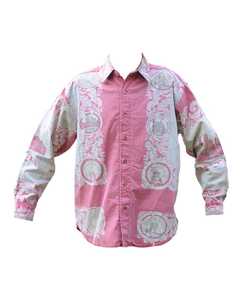 Vintage Pink and White Print Shirt
