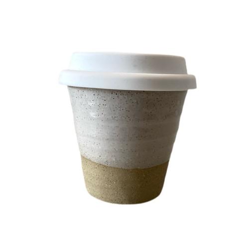 ROBERT GORDON -  White Carousel Cup -Swatch  on Dark Clay - Small